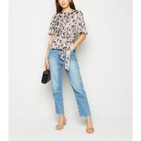 White Leopard Print Tie Side Satin Blouse New Look