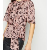 Pink Leopard Print Tie Side Blouse New Look