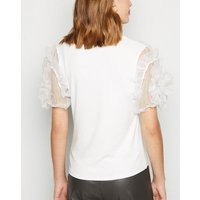 Cameo Rose White Ribbed Mesh Sleeve Top New Look