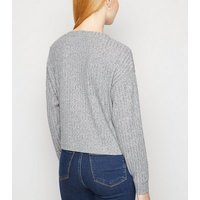 Pale Grey Ribbed Fine Knit Boxy Cardigan New Look