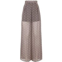 Pink Floral Chiffon Wide Leg Trousers New Look