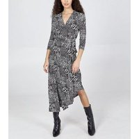 Blue Vanilla Black Mixed Animal Print Wrap Dress New Look
