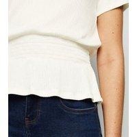 Cream Fine Knit Shirred Waist Top New Look