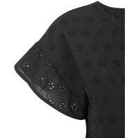 Black Cap Sleeve Broderie Smock Dress New Look