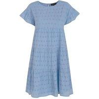 Pale Blue Cap Sleeve Broderie Smock Dress New Look