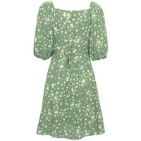 Green Floral Square Neck Puff Sleeve Dress New Look