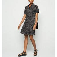 Black Zebra Print Peplum Hem Mini Shirt Dress New Look