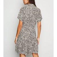 White Zebra Print Tiered Mini Shirt Dress New Look