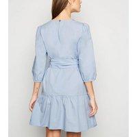 Pale Blue Poplin Puff Sleeve Mini Dress New Look