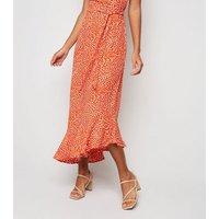 Blue Vanilla Orange Spot Asymmetric Maxi Dress New Look