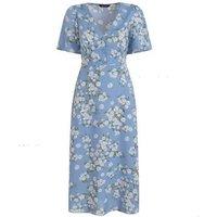 Pale Blue Floral Midi Tea Dress New Look