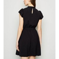 Black Frill High Neck Dress New Look