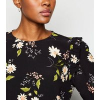 Black Floral Print Frill Trim Blouse New Look