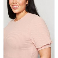 Curves Pink Ribbed Puff Sleeve Top New Look