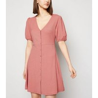 Mid-Pink-Crinkle-Button-Front-Mini-Dress-New-Look