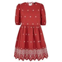 Rust Floral Embroidered Crochet Mini Smock Dress New Look