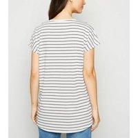 White Stripe Long T-Shirt New Look