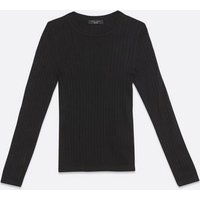 Petite Black Ribbed Knit Crew Jumper New Look