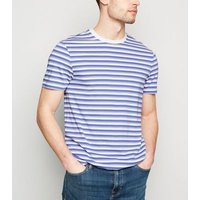 Lilac Stripe Short Sleeve Crew T-Shirt New Look