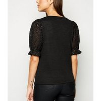 Black Fine Knit Broderie Puff Sleeve Top New Look