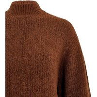 Rust Ribbed Knit  High Neck Long Jumper New Look