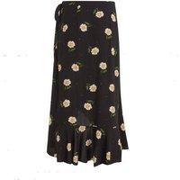 Petite Black Daisy Spot Wrap Midi Skirt New Look