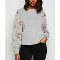 Cameo Rose Pale Grey Broderie Puff Sleeve Jumper New Look