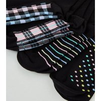 4 Pack Black Patterned Ankle Socks New Look