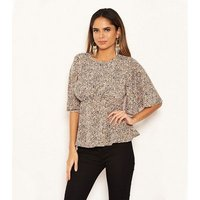 AX Paris Stone Spot Peplum Blouse New Look