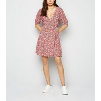 Pink Floral Shirred Wrap Dress New Look