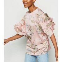 AX Paris Pink Tropical Leaf Ruffle Trim Top New Look