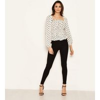 AX Paris Off White Polka Dot Bardot Top New Look