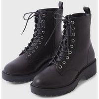 Black Lace Up Chunky Heeled Platform Boots New Look Vegan