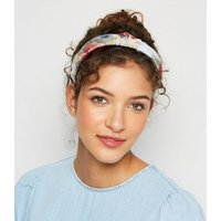 Multicoloured Floral Organza Knot Headband New Look
