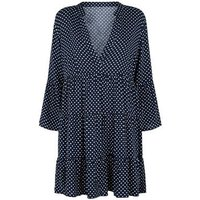 JDY Navy Spot Tiered Smock Dress New Look