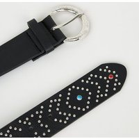 Black Stud Gem Belt New Look