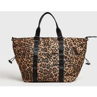 Stone Leopard Print Sporty Holdall Bag New Look