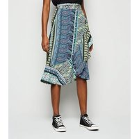 JDY Black Paisley Midi Wrap Skirt New Look