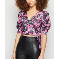 Urban Bliss Black Floral Puff Sleeve Wrap Top New Look