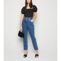Black Poplin Spot Puff Sleeve Top New Look