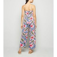 Mela Blue Tropical Button Jumpsuit New Look