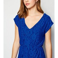 Mela Bright Blue Lace Maxi Dress New Look