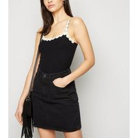 Black Floral Daisy Trim Cami New Look