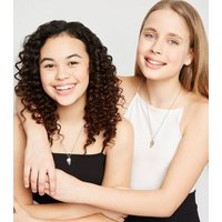 Girls  2 Pack Silver Best Friends Pendant Necklaces New Look