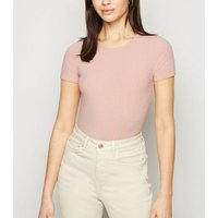 Pink Ribbed Short Sleeve Bodysuit New Look