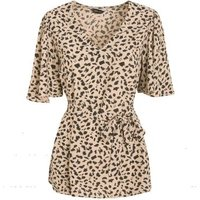 Brown Leopard Print V Neck Tie Blouse New Look
