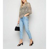 White Leopard Print Chiffon Shirt New Look