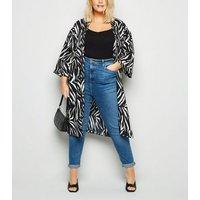 Curves Black Zebra Print Kimono New Look