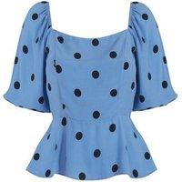 Blue Spot Puff Sleeve Peplum Blouse New Look