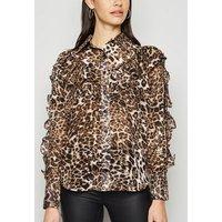 Brown Leopard Print Ruffle Sleeve Shirt New Look